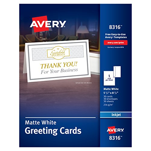 Avery Half-Fold Greeting Cards, Inkjet, 5.5 x 8.5, Matte White, Box of 30, Envelopes Included (8316)