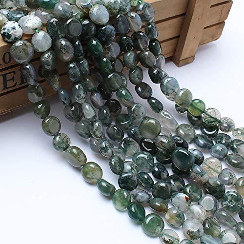 VietGT Moss Stone - Natural Stone Beads 8-10mm Irregular Moss Agate Stone Beads for Jewelry Making Bracelet Necklace 15inches