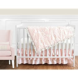 Blush Pink White Damask and Gold Polka Dot Amelia Girl Baby Bedding 11 Piece Crib Set Without Bumper