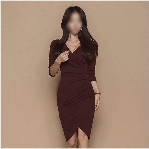 HLL-Dress Vestidos Dirndl Falda Corta Plisada con Cuello en V ...