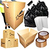 40 Mixed Cardboard Moving Removal Boxes | Strong Double & Single Wall Boxes, Bubble Wrap, Tape, 1 Marker Pen & Refuse Bags Included