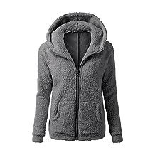 Women Winter Plain Hooded Zip Up Hoodies Pullover Sweatshirt