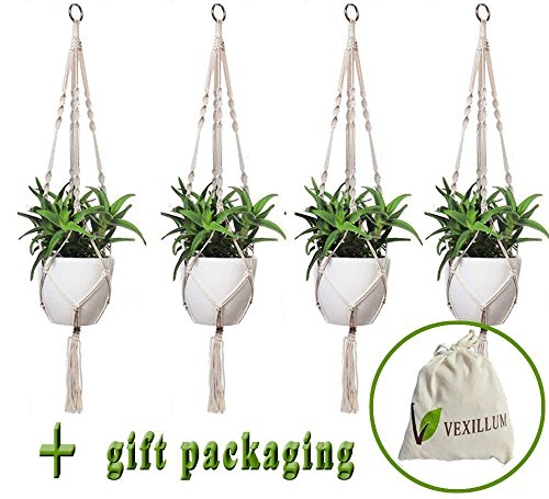 Basket Deck (VEXILLUM 4 Pieces, 4 Legs, 39 inches, Macrame Cotton Plant Hangers for Indoor Outdoor Decorations, Plant Holder Flower Pot Hangers for Hanging Baskets,Balcony Patio Deck Ceiling Large,Pot Not Included)