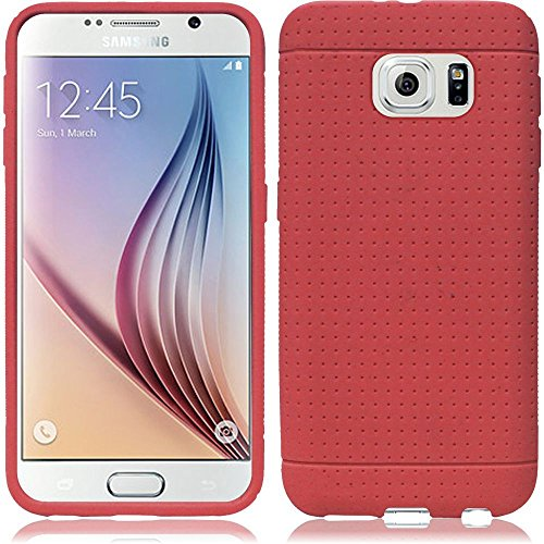 VMG +EB For Samsung Galaxy S6 (6th Generation; 2015 Version) Premium Dimple Mesh Design Cell Phone Soft Gel Silicone Skin Case Cover - Marsala + Free Black Earbud Gift