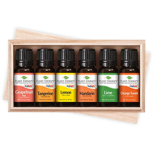 Plant Therapy Essential Oils Fruits Set | Grapefruit, Tangerine, Lemon, Mandarin, Lime, Orange Sweet In A Wooden Box | 100% Pure, Undiluted, Natural Aromatherapy, Therapeutic Grade | 10 mL (⅓ ()