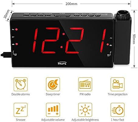 InLife Despertador Proyector Reloj de Proyección Despertador Digital Radio FM 2 Despertadores con Snooze Ajustable Pantalla LED Cargador de USB Negro