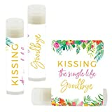 Andaz Press Bridal Shower Bachelorette Party Lip Balm Party Favors, Tropical Floral Garden Party, Kissing The Single Life Goodbye, 12-Pack