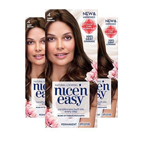 Clairol Nice 'n Easy Permanent Hair Color, 4 Dark Brown, 3 Count Allergy Gentle Single-Step Hair Dye with Conditioners, Natural-Looking Color, Salon Highlights, 100% Grey Coverage (Packaging May Vary)