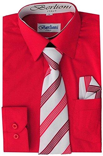 Berlioni Boys Italian Long Sleeve Dress Shirt with Tie & Hanky-RED-6 by Berlioni