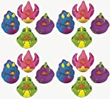 Lot Of 16 Dinosaur - Rubber Ducks - Dino Party Favor Duckys - Randomly Assorted Colors