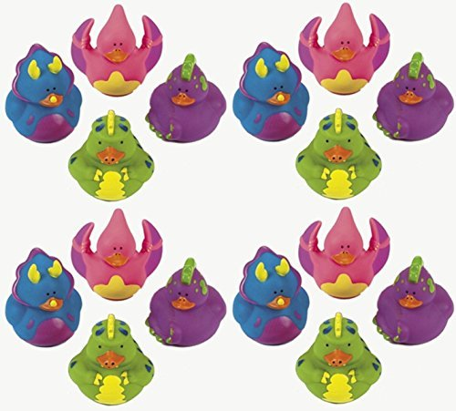 Lot Of 16 Dinosaur - Rubber Ducks - Dino Party Favor Duckys - Randomly Assorted Colors -