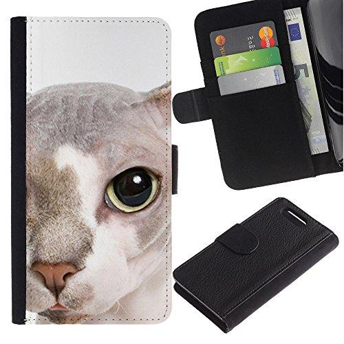 LASTONE PHONE CASE / Lujo Billetera de Cuero Caso del tirón Titular de la tarjeta Flip Carcasa Funda para Sony Xperia Z1 Compact D5503 / Peterbald Bambino Cat Hairless Face