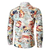 Big Promotion Fashion Mens Shirts vermers Personality Mens Casual Slim Long Sleeve Printed Shirt Top Blouse(XL, Beige)