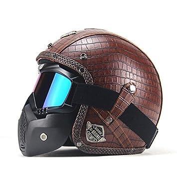 Casco de moto 3/4 abierto de piel sintética + máscara de gafas estilo vintage