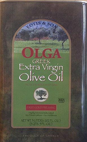 Greek Extra Virgin Olive oil Olga Brand 3 liter by Olga Extra Virgin Olive oil