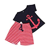 DaySeventh 1Set Summer Toddler Infant Boys Fake two-piece Printed T-shirt+Pants Clothing (5T, Navy)