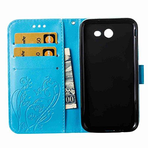 Funda Samsung Galaxy J3 2017 / J320, 5.2 pulgadas, Cáscara Samsung Galaxy J3 2017 / J320, Alfort Casco de Protección Relieve Carcasa PU Cierre Magnético Carcasa del teléfono con una función de Soporte Azul