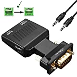Cingk VGA to HDMI Converter Adapter 1080P Video Output (VGA Male to HDMI Female) VGA Extension Cable Mini USB Power Cable 3.5mm Audio Cable Included