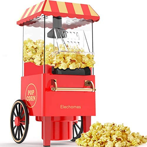 chollos oferta descuentos barato Máquina para hacer palomitas de maíz Elechomes estilo retro 1200W mediante aire caliente con control de temperatura y protección contra sobrecalentamiento sin necesitad de aceite