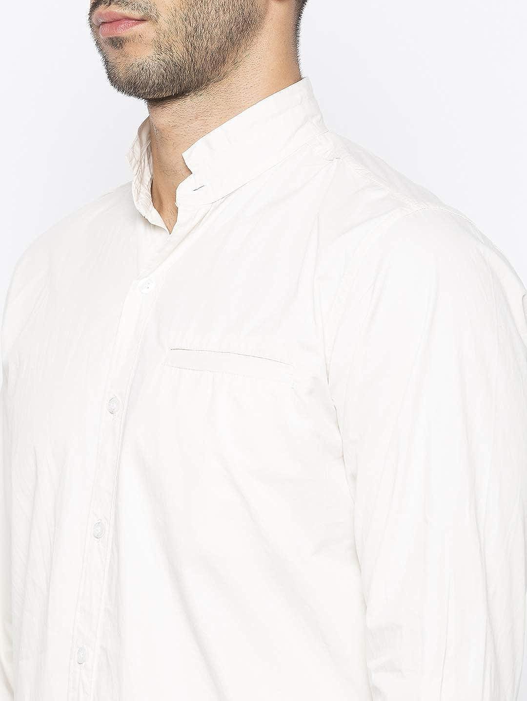 Nick&Jess Camisa de manga corta para hombre, color crema (blanco), cuello Mao