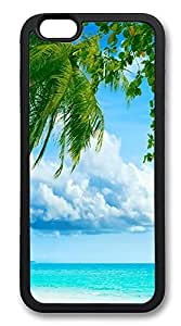 iPhone 6 4.7 Cases, Tropical Paradise Beach And Palm Tree Durable Soft Slim TPU Case Cover for iPhone 6 4.7 inch Screen (fashion case iPhone 6 4.7 6 4.7 6 4.7 or iPhone 6 4.7 inch screen) - TPU Black