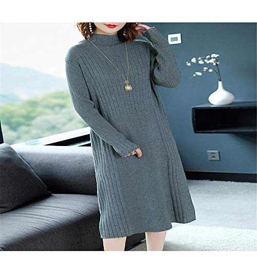 Gonna Donna In Lungo Lunga Shirloy A Dress High Loose Slim Maglione Knit Da Manica Grigio Collar vxnnwYB6qS