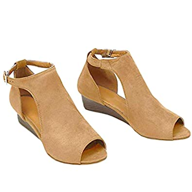 650b780d2d875 Amazon.com | Genevo Women's Platform Wedge Sandals Open Toe High Heel Buckle  Sandal Cut Out Suede Shoes | Platforms & Wedges