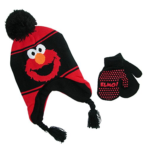 Elmo Hats (Sesame Street Elmo Boys' Scandinavian Hat and Mitten Set – size Toddler 2 – 5 [4014])