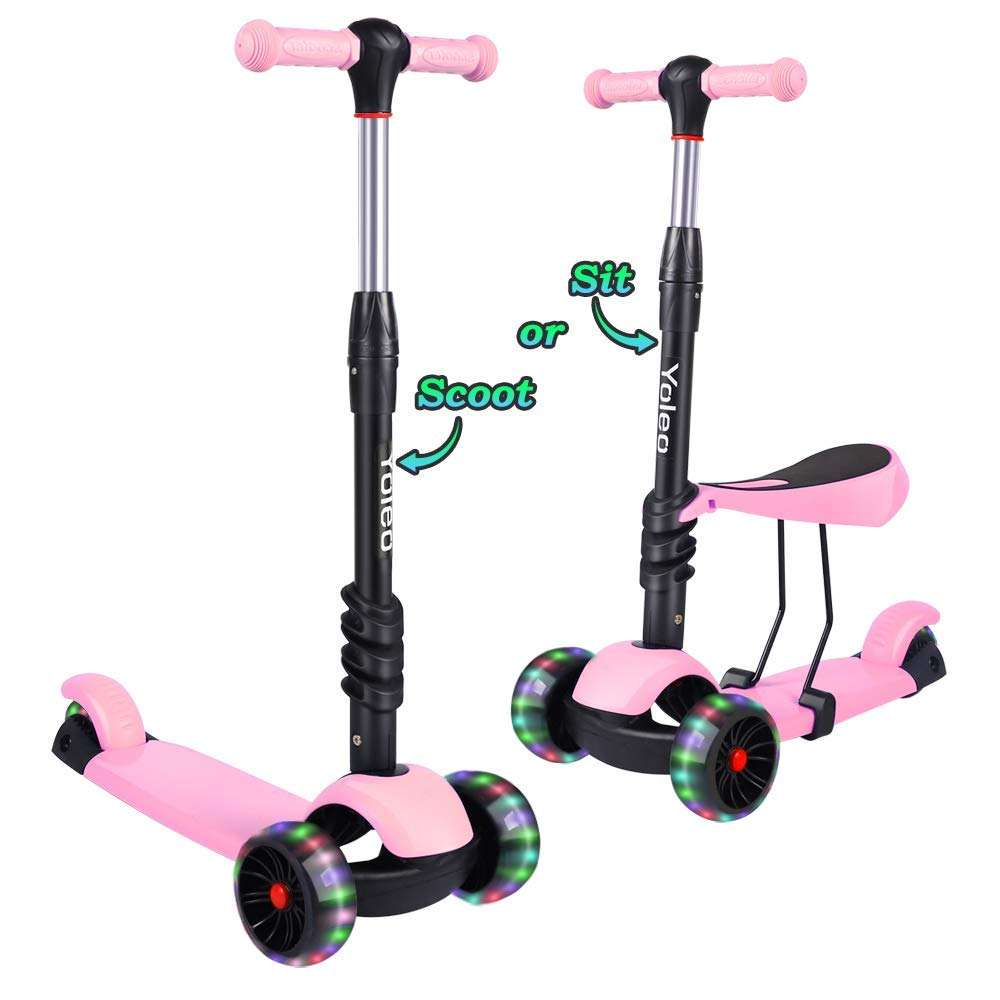 TONBUX Kids Toddlers Scooter 3 in 1 Adjustable Height Scooters with 3 Wheel Glider and PU Flashing Wheels Wide Deck for Girls & Boys Ages 2-8 (Pink)