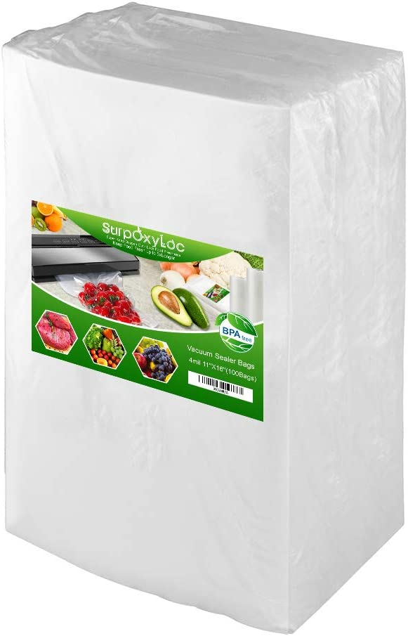 Premium!! SurpOxyLoc 4mil100 Gallon Size11x16Inch Food Saver Vacuum Sealer Bags with BPA Free,Heavy Duty,Great for Sous Vide and Vac Seal storage
