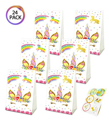 (QMZ Unicorn Candy Gift Bags Party Favor Treat Bags Birthday Baby Shower Wedding Theme Decorations Supplies with Stickers Set of 24)