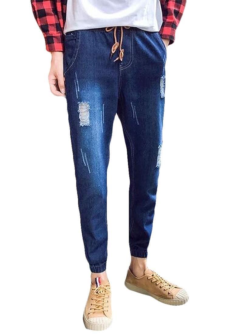 BYWX Men Ripped Distressed Casual Harem Jogger Pants Big /& Tall Denim Jeans Pants