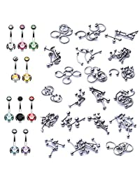 BodyJ4You 160PCS Body Piercing Jewelry 14G 16G Belly Ring Labret Tongue Eyebrow Tragus Barbells