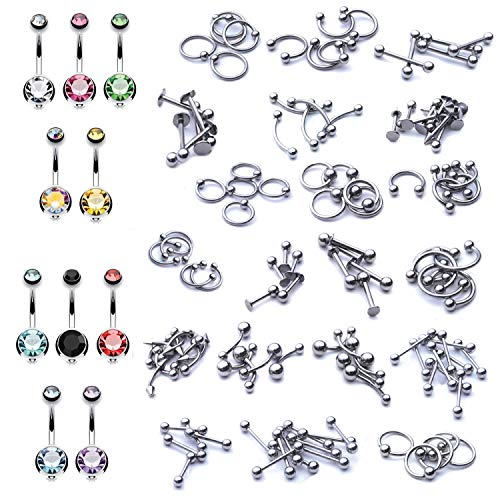 BodyJ4You 160PCS Body Piercing Jewelry 14G 16G Belly Rings Tongue Nipple Rook Tragus Jewelry