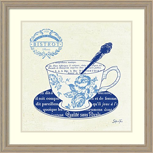 Framed Art Print, 'Blue Cups I' by Stefania Ferri: Outer Size 27 x 27""