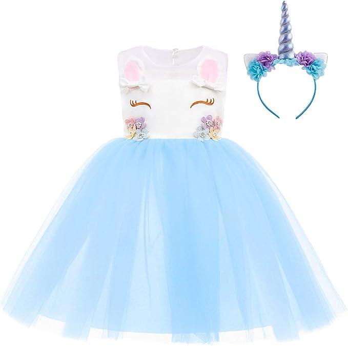 OBEEII Disfraz Unicornio Niña Vestido Unicornio Princesa Tutú con ...