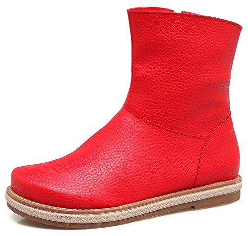 Idifu Kvinna Retro Rund Tå Sido Dragkedja Låga Chunky Häl Boots Röda