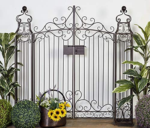"""Deco 79 41391 Large Traditional Brown Metal Garden Gate with Latch & Ornate Scrollwor, 64"""" x 60"""""""