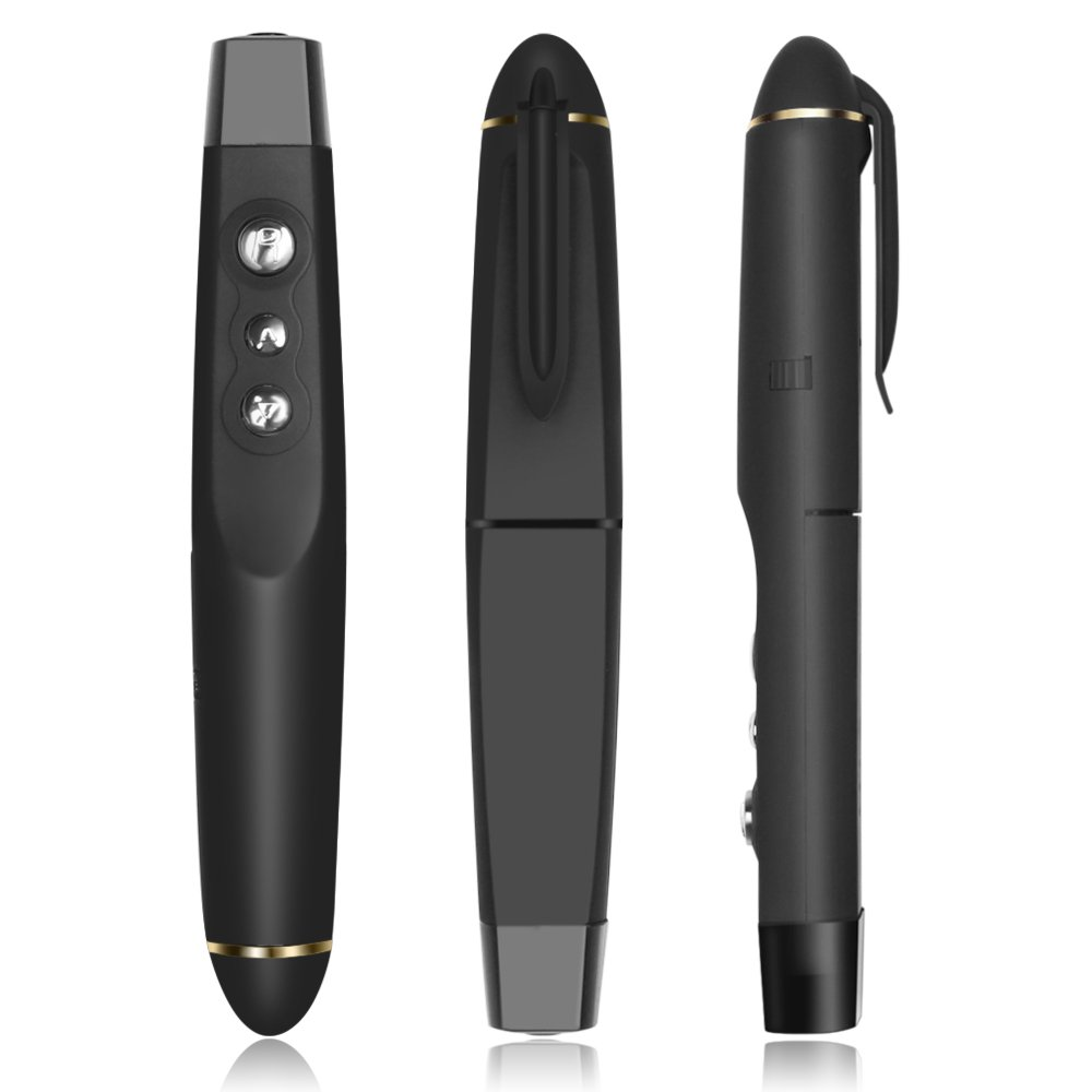 Flexzion Presentation Pointer with Infrared Pointer Wireless Presenter Clicker USB Remote Control Pen PPT Powerpoint Page Up and Down Range 50ft in Black