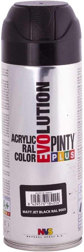 PINTYPLUS EVOLUTION 597 Pintura Spray Acrílica 520cc Matt Jet Black, Negro Mate Ral 9005, Estándar
