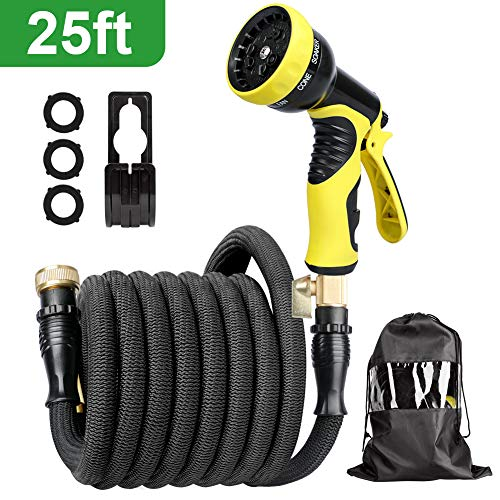 AQSURE 25FT Garden Hose Expandable No-Kink Water Hose with Heavy Duty Triple Latex Pipe, 3/4″ Solid Brass Fittings with 9 Spray Patterns for Car, Patio Washing (Spray Nozzle & Hook Included)