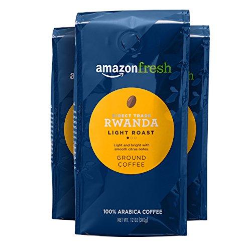 AmazonFresh Direct Trade Rwanda Coffee, Light Roast, Ground, 12 Ounce, Pack of 3
