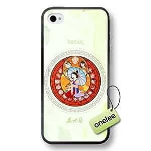 Disney Cartoon Mulan Soft Rubber(TPU) Phone Case & Cover for iPhone 4/4s - Black
