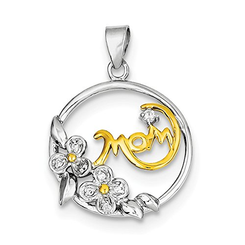 (Clear CZ Flower Mom Pendant Round Medal Charm Fashion Sterling Silver)
