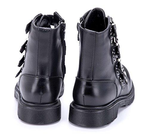 43398f0049f061 Schuhtempel24 Damen Schuhe Boots Stiefel Stiefeletten Blockabsatz Schnalle  Nieten 3 cm Schwarz ...