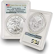 2020 Philadelphia Mint (P) Silver American Eagle MS-70 (First Day of Issue - Emergency Production) Flag Label