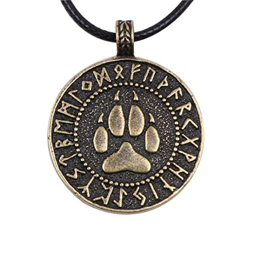 (Paw Paw House Mens Wolf Head Necklace Pendant for Dog Lover Men Norse Viking Warrior Arrow Headed Amulet Jewelry (4028Br))