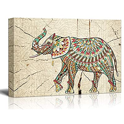 Abstract Colorful Elephant on Wood Effect Background, With Expert Quality, Fascinating Expert Craftsmanship