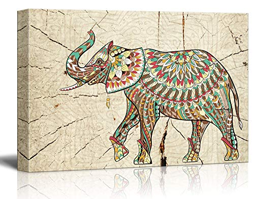 wall26 – Canvas Wall Art – Abstract Colorful Elephant on Wood Effect Background – Giclee Print Gallery Wrap Modern Home Decor Ready to Hang – 24×36 inches