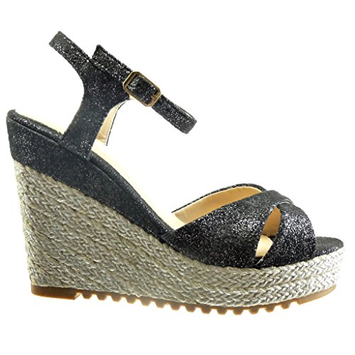 Angkorly - Zapatillas de Moda Sandalias alpargatas zapatillas de plataforma mujer cuerda Talón Plataforma 11.5 CM - Negro